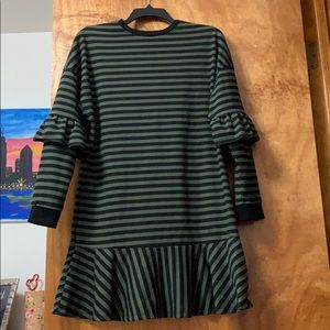 ASOS striped dress with ruffle